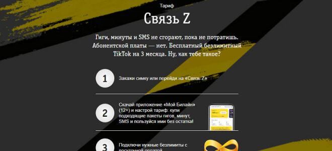 Билайн тариф «Связь Z» подробное описание