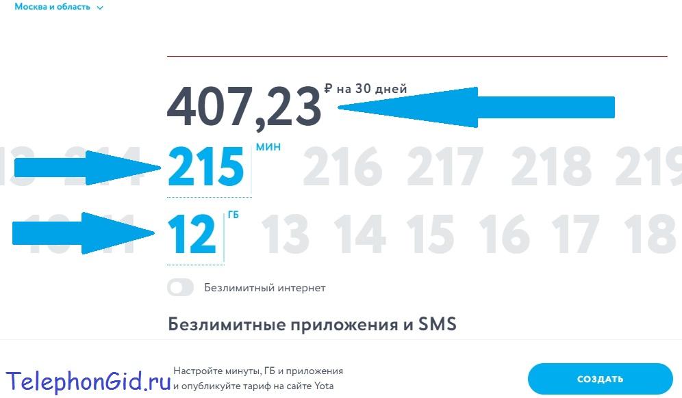Тарифы Yota для телефонов с безлимитным интернетом для мобильных приложений