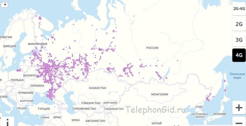 Карта зоны покрытия Теле2 4G, 3G по России на 2020-2021 год